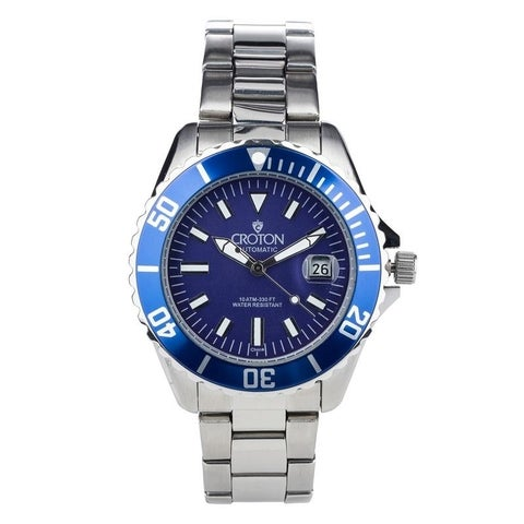 Croton Men's CA301294BUBL Stainless Blue Dial Automatic Watch with Magnified Date at 3:00 - Silvertone - N/A