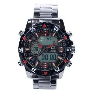 Croton Men's Ana-Digi Chronograph Bracelet Watch - Silvertone