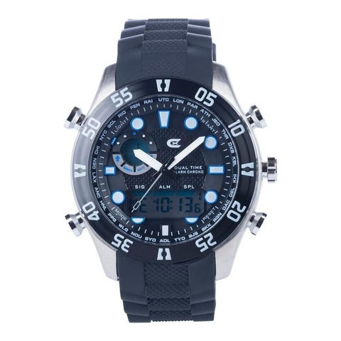 Croton Men's Ana-Digi Chronograph Black Silicone Strap Watch