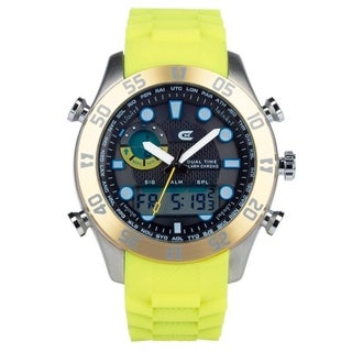 Croton Men's CX328043YLYL Ana- Digital Chronograph Yellow Silicone Strap - N/A