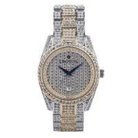 Croton Men's CN307543TTPV Two Tone Crystal Watch with Date and Blue Metallic Hands - Two-tone - N/A