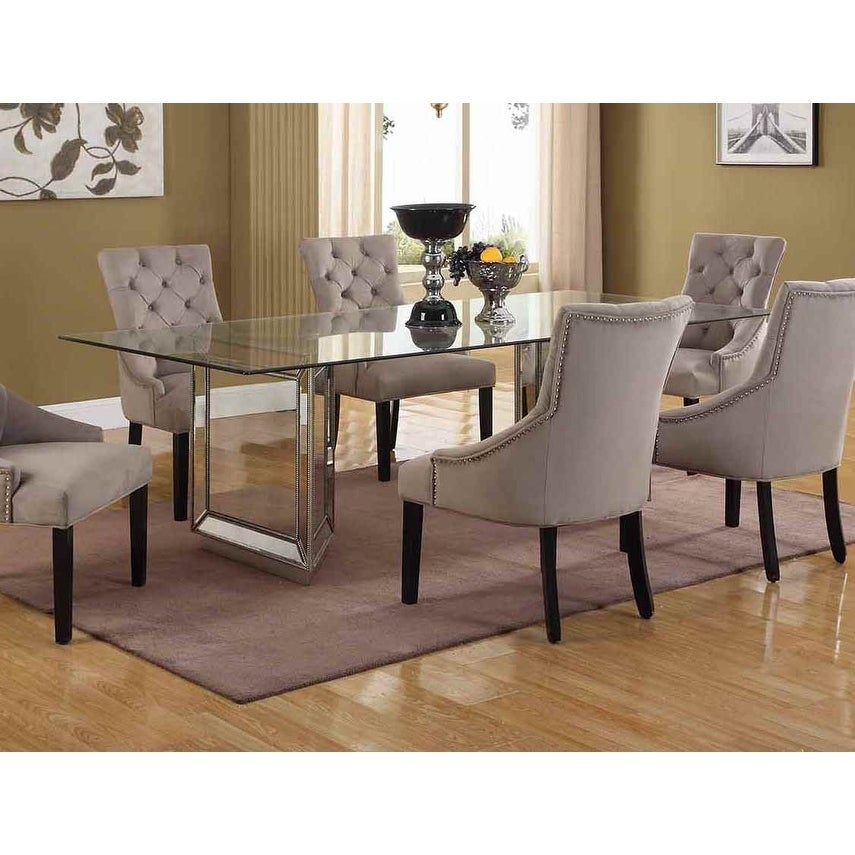 Best Master Furniture Silvertone Mirrored Wood 72 Inch Dining Table With Clear Tempered Gl Top