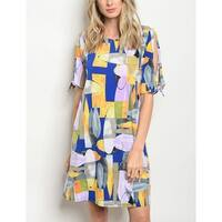 JED Women's Mod Print Short Sleeve Tunic Dress