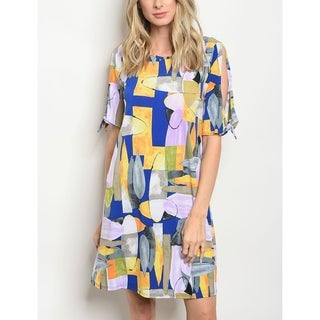 JED Women's Mod Print Short Sleeve Tunic Dress