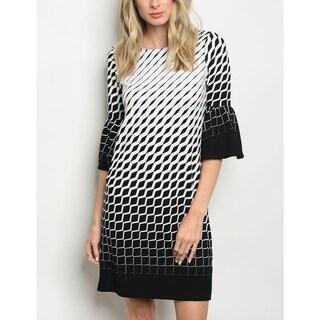 JED Women's Bell Sleeve Black & White Printed Shift Dress