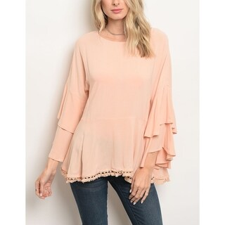 JED Women's Frilly Sleeves Flared Top