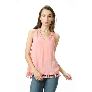 Olivia Pratt V-Neck Fringe Top