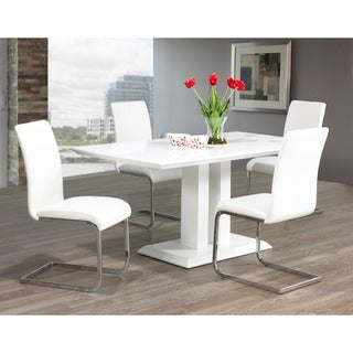 Porch & Den University Maxim Chrome/ Faux Leather Dining chair (Set of 2) in White Finish (As Is Item)