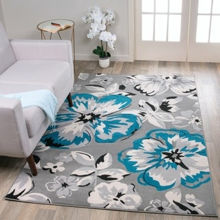 "Modern Floral Circles Blue Area Rug - 6'6"" x 9'"