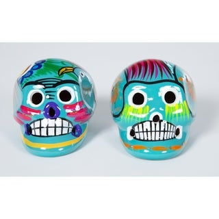 Set of Two Hand Painted Ceramic Day of the Dead Skulls