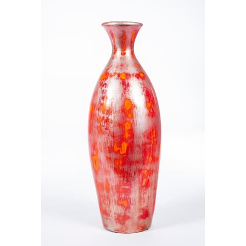 Handmade Red and Silver Classic Vase (Mexico)