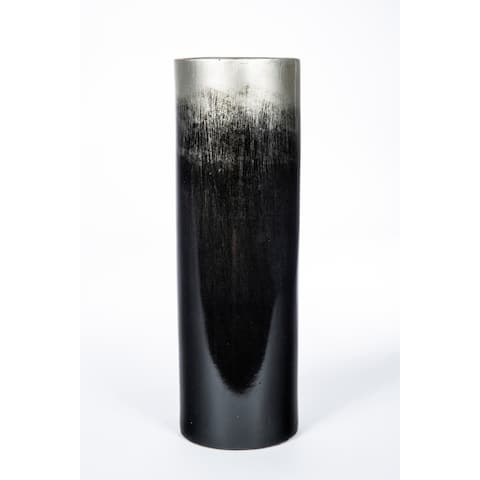 Handmade Black and Silver Cyclinder Vase (Mexico)