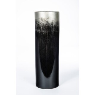 Cylinder Vase in Black and Silver