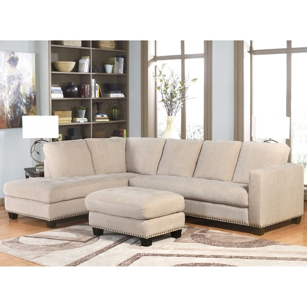 Shop Abbyson Richmont Beige Fabric Sectional Sofa