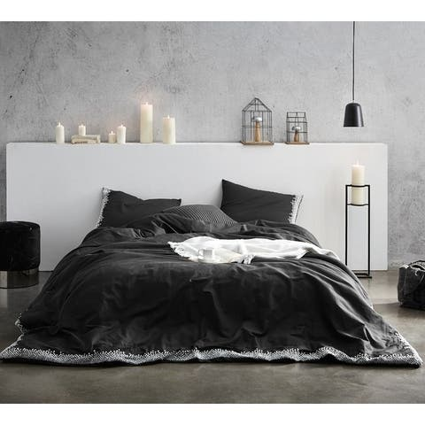 Endless Fields Embroidered Comforter - Carbon Black