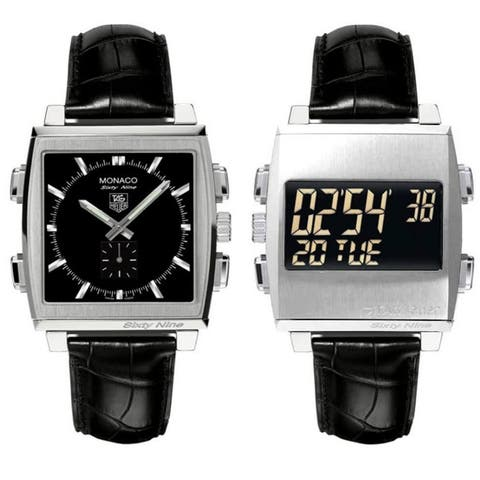 Tag Heuer Men's CW9110.FC6177 'Monaco 69' Analog-Digital Flip Reversible Dial Black Leather Watch