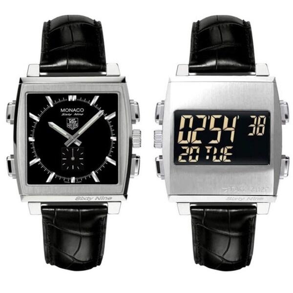 Tag Heuer Men's CW9110.FC6177 'Monaco 69' Analog-Digital Flip Reversible Dial Black Leather Watch. Opens flyout.