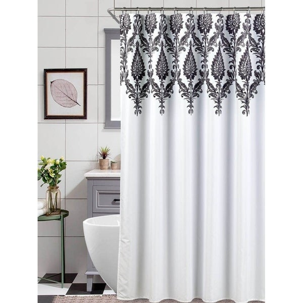 Shop Black White Scroll Shower Curtain On Sale Free