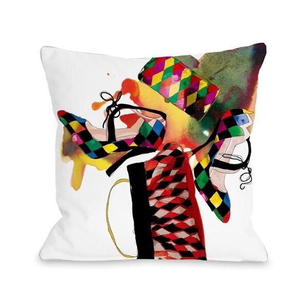 Harlequin - White Multi Pillow by Judit Garcia Talvera