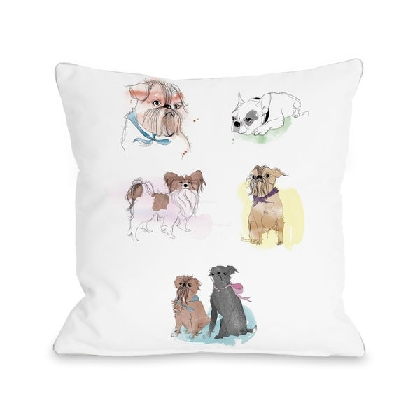 Puppies Sketches - White Multi Pillow by Judit Garcia Talvera