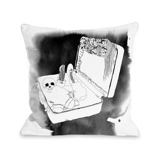 Skull Suitcase - White Black  Pillow by Judit Garcia Talvera