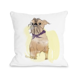 Terrier  - White Multi  Pillow by Judit Garcia Talvera