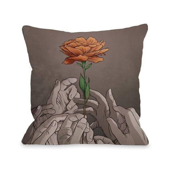 Orange Rose - Gray Orange Pillow by Matthew Woodson