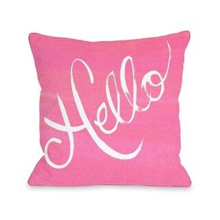 Hello Painted/Stripes - Pink White  Pillow by Timree