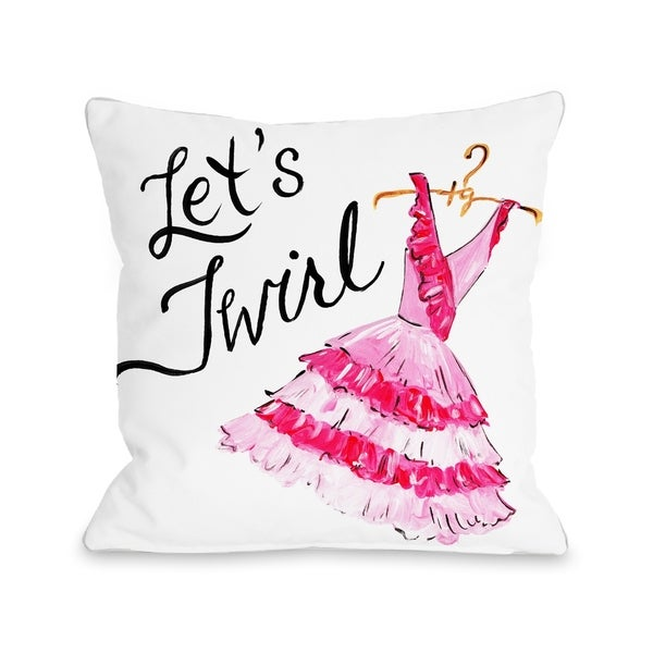Let's Twirl Dress/Stripes - White Pink Pillow by Timree