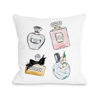 Perfume Bottles/Sparkles - White Multi  Pillow by Timree