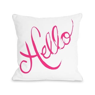 Hello Painted/Bows - White Pink  Pillow by Timree