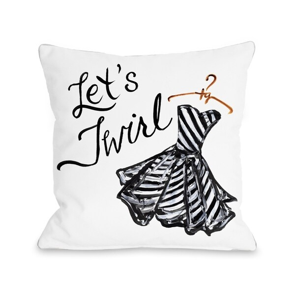 Let's Twirl Dress/Stripes - White Black Pillow by Timree