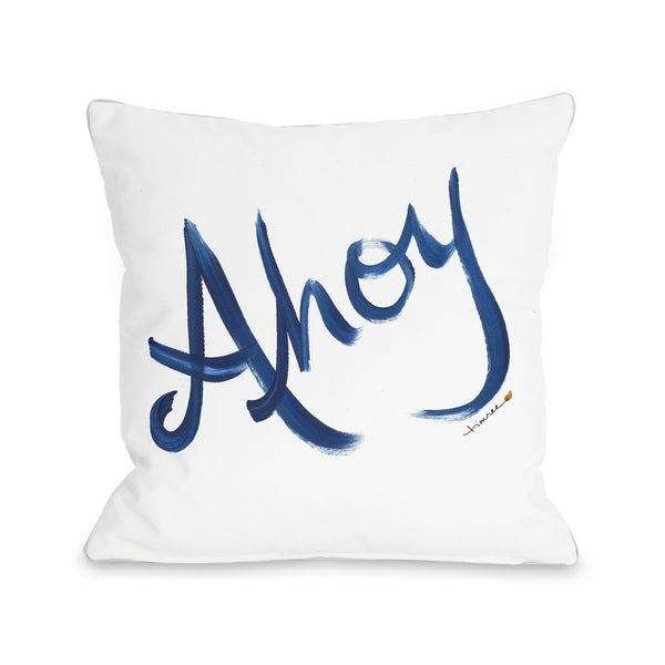 Ahoy - Sailor's Greeting - White Navy Pillow by Timree