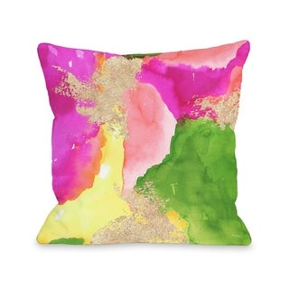 Color Splash - Green Multi - Green Multi  Pillow by lezleelliott
