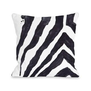 Stripey Zebra - White Black - White Black  Pillow by lezleelliott