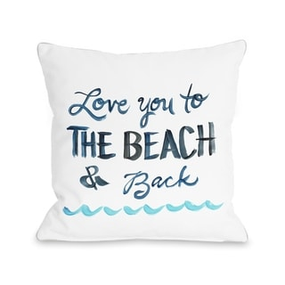 Love You To The Beach - White  Pillow by Timree