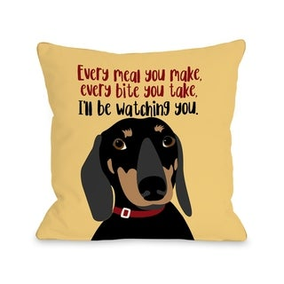 Dachshund Every Meal You Make - Yellow  Pillow by Ginger Oliphant