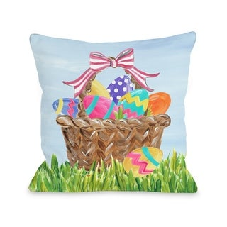 Colorful Easter Basket - Multi  Pillow by Timree