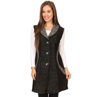 High Secret Women's Asymmetrical Multi Print Patchwork Vest Cardigan (4 options available)