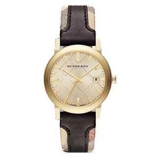 Burberry Women's 'The City' Beige and Brown Nylon and Leather Watch
