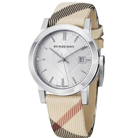 Burberry Women's 'Heritage' Nova Check Beige Nylon and Leather Watch