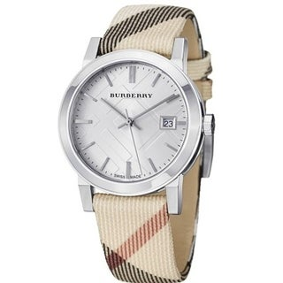 Burberry Women's BU9022 'Heritage' Nova Check Beige Nylon and Leather Watch