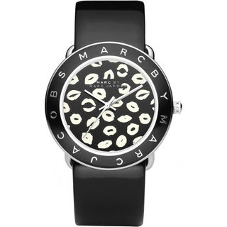 Marc Jacobs Women's 'Amy' Kiss Graphic Dial Black Leather Watch