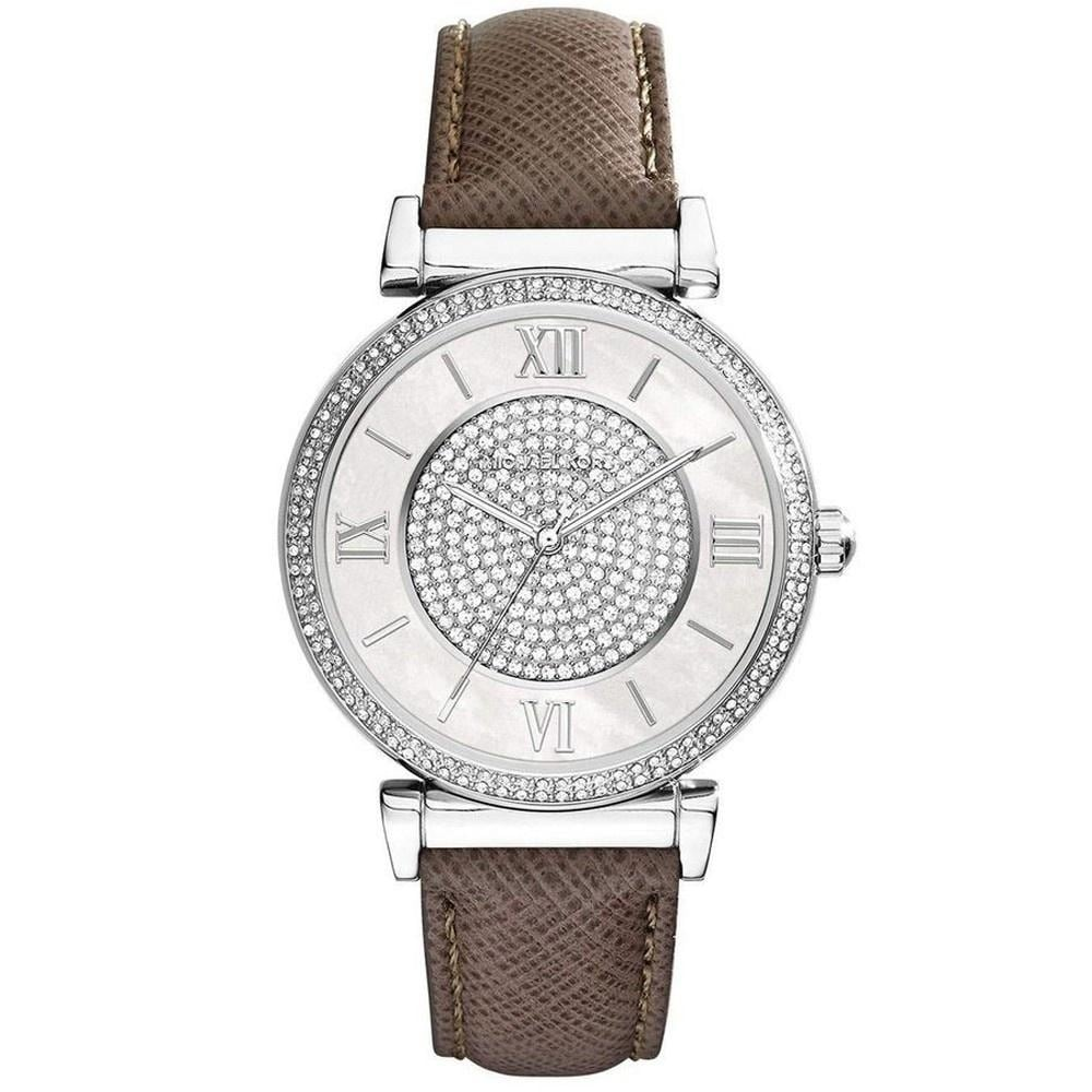 Michael Kors Womens  Caitlin Crystal Brown Leather Watch