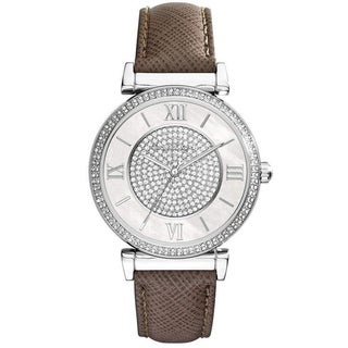Michael Kors Women's 'Caitlin' Crystal Brown Leather Watch