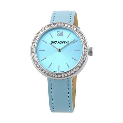 Swarovski Women's 5095646 'Octea Classica' Crystal Blue Leather Watch