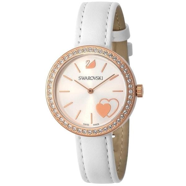 e75ccf1fb3 Swarovski Women's 'Daytime' Heart Crystal White Leather Watch