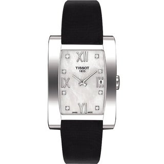 Tissot Women's 'Generosi' Diamond Black Leather Watch
