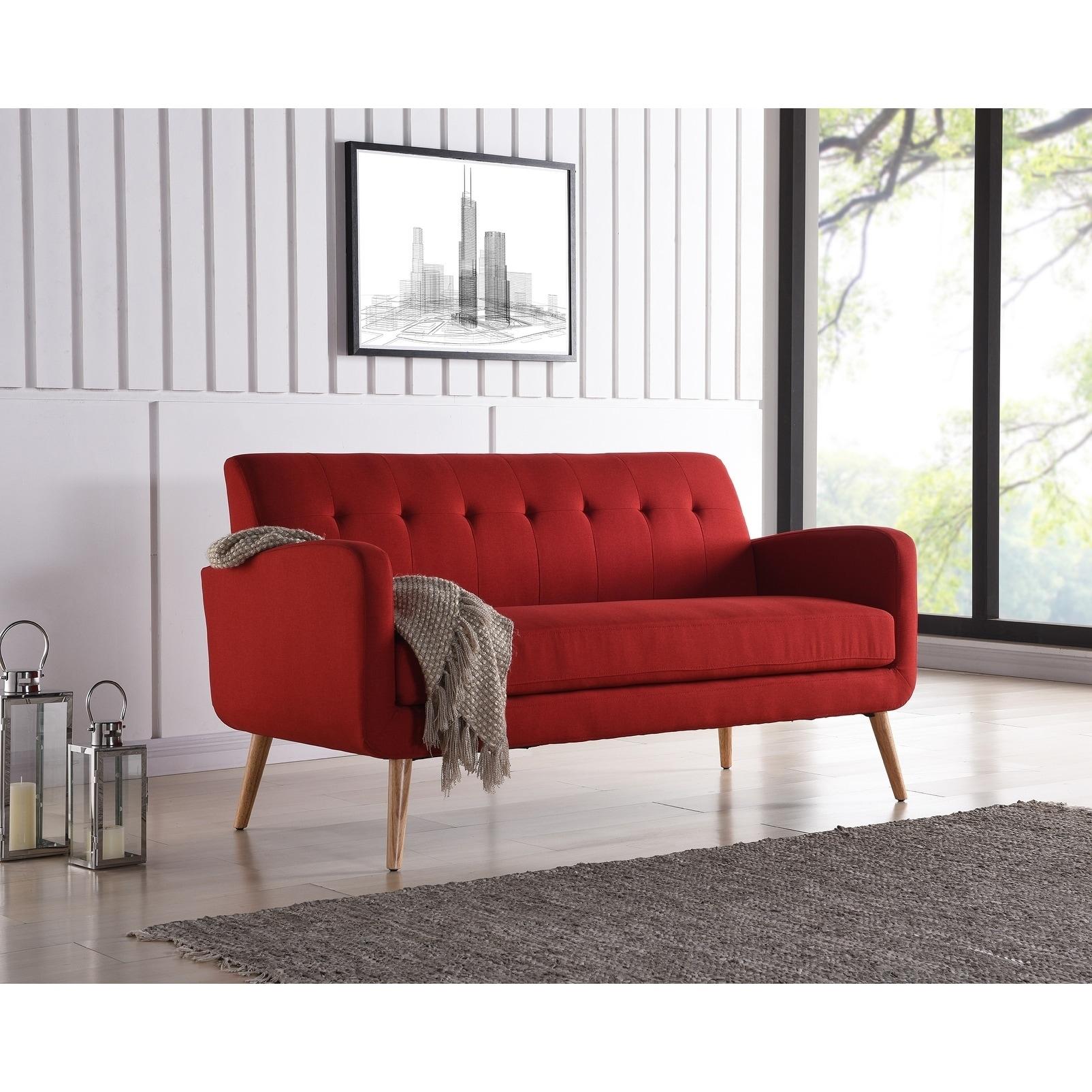 Handy living kingston mid century modern red linen armless sofa
