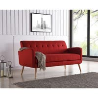 Carson Carrington Tjaereborg Mid-century Modern Red Linen Armless Sofa